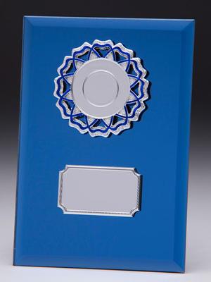 Glasplakett blå